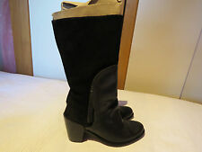 FLY LONDON BLACK LEATHER & SUEDE WESTERN MID-CALF BOOTS UK 4 EUR 37 RRP £135