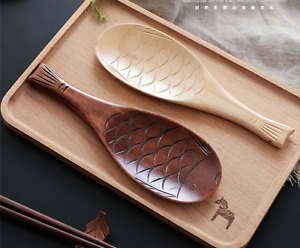 Japan Fish Shaped Light Wood Colour Wood Rice Scoop