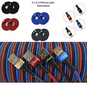 2x 3m Amor´s iPhone Schnell Ladekabel Kabel für iPhone 6 7 8 X XR 11 12 iPad