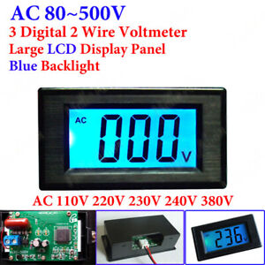 AC 80-500V Digital Voltmeter LCD Display Voltag Volt Panel Meter 110V 220V 380V