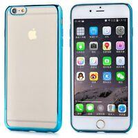 iPHONE 6 6S PREMIUM SLIM FIT BLUE TRANSPARENT SILICONE GEL TPU CASE COVER CLEAR