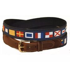 Preston Natuical World Flag Patchwork Belt Size 44 Made In USA Brass