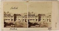 Libano Baalbek Archeologia Foto Stereo PL53L4n48 Vintage Albumina c1860