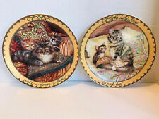 2 Bradford Exchange Cat Plates 1st & 2nd Issues In The Sitting Pretty Collection
