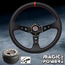 350mm Black Deep Dish Racing Steering Wheel & Hub Adapter Genesis Tiburon Miata