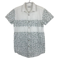 Stussy Mens White with Green Leaves Button Up Short Sleeve Casual Shirt Size S