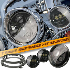 "7"" Black LED Projector Daymaker Headlight + Passing Lights Fits Harley Touring B"