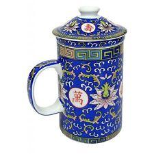 PORCELLANA CINESE Tazza da tè con infus. E COPERCHIO-Blu Modello longevità