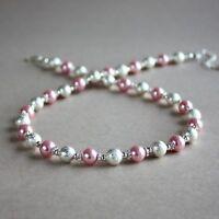 Silver stardust pink pearls collar choker wedding bridesmaid bridal necklace