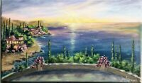 "Art14""/8,5""Terrace with sea view,oil painting,black friday sale,landscape"