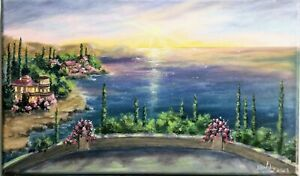 """Art14""""/8,5""""Terrace with sea view,oil painting,black friday sale,landscape"""