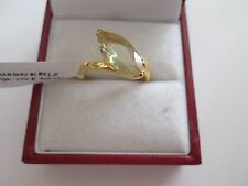 GENUINE LEMON QUARTZ STERLING SILVER GOLD OVERLAY SOLITAIRE RING SIZE R/S