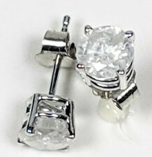 Diamond Stud Earrings Genuine Round 1 Carat 1.0 I2  Sterling Silver 925