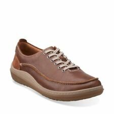 Men's Clarks GAIT MIX Tan Leather Lace-Up Casual Shoes Sneakers, Size UK 9.5