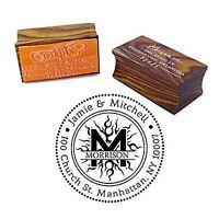 Personalized Wood Mounted Rubber Logo Stamp Custom Round Address-2xQ