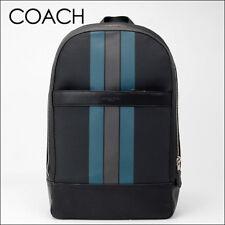 NWT Coach Charles Slim Backpack with Varsity Stripe 22374 Black/Denim/Graphite