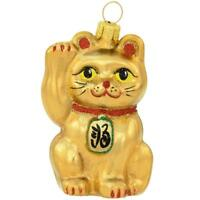 Golden Lucky Cat Glass Ornament Xmas Japanese Good Luck Holiday Gift Christmas