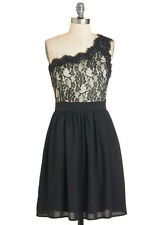 Modcloth Formal Flourish Dress one shoulder Black & nude dress NWT Cute sz L