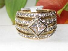 Ladies gold ring bezel dome cz cubic zirconia comfort sparkling dress new 1551