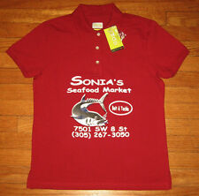 SONIA's SEAFOOD MARKET, IZOD Polo Shirt Women's MEDIUM, Red, BAIT & TACKLE, NWT