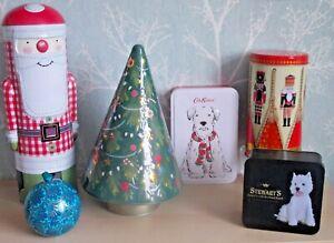 EMPTY COLLECTABLE TINS CHOICE CHRISTMAS SANTA NUTCRACKER TREE DOG GIFT SPHERE