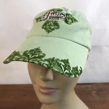 Justin Boots Green Cotton Strapback Baseball Cap Hat CH24