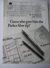 ORIGINAL 1974  MAGAZINE ADVERT FOR PARKER FIBRE TIP PENS
