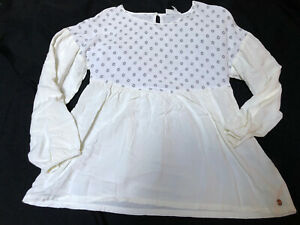 435 by Matilda Jane Girls Top Shirt 12 Rayon Ivory Floral Long Sleeve Crew Neck
