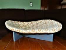 "Mid Century Modern Cat Pet Boomerang Bed Wood Base 23x17"" MCM Beige Lt Rust Blue"