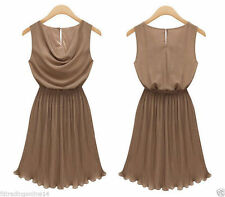 Ärmellose knielange Damenkleider im Empire-Stil aus Chiffon