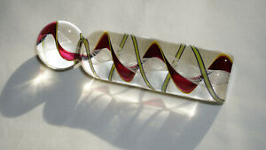 """Steven Maslach Glass """"Cuneo Furnace"""" Unfinished Latticinio Marble On Cane #1"""