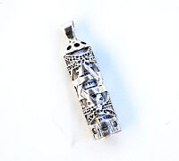 Sterling Silver 925 Mezuzah & Scroll  Pendant.W-Magen David Judaica Made israel
