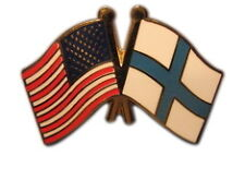 Finland Friendship with US Flag Lapel Badge Pin