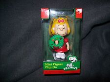 CHRISTMAS 2012 PEANUTS MINI FIGURE CLIP-ON ORNAMENT SALLY WITH A WREATH NIB
