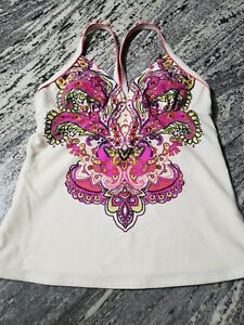 Athleta Multi Color Paisely Racerback Fitness Stretchy Athletic Tank Top Size XS