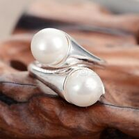 New Fashion Women's Natural White Shell Pearl 925 Solid Sterling Silver Ring