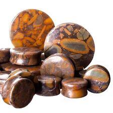 PAIR-Stone Jasper Bamboo Double Flare Ear Plugs 08mm/0 Gauge Body Jewelry