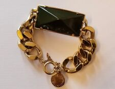 Stella McCartney gold chain bracelet with green chunky jeweled detail