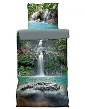 4 tlg Wende Bettwäsche 135 x 200 cm Wasserfall Mako Satin Baumwolle 3D