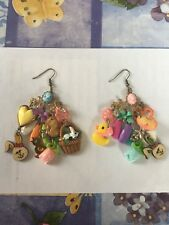 Handmade Mismatched Easter Spring Bunnies Chicks Dangle Earrings OOAK Rare New