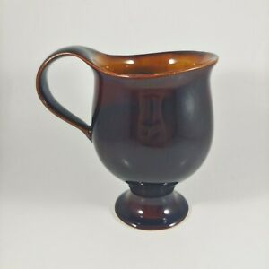 Vintage USA Pottery Brown Yellow Footed Mid Century Modern Small Creamer Pitcher