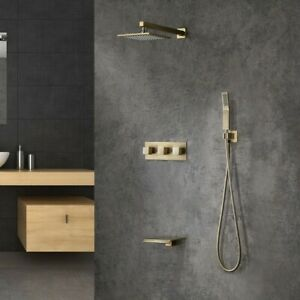 """Brushed Gold Wall-Mounted 10"""" Shower Tap with Handheld Spray and Waterfall Spout"""