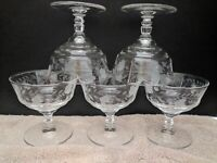 Vintage Clear Glass Floral Etched Short-Stemmed Sherbet Glasses-Set of 5
