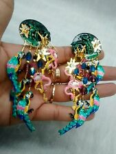 Stunning Statement Lunch at the Ritz exotic bird flamingo crystal clip  earrings