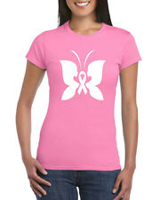 Breast Cancer Awareness Butterfly Ladies T-Shirt, Pink Ribbon Gift Adults Top
