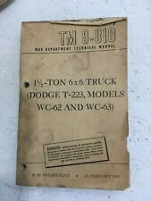 TM 9-810 War Department Manual. 1-1/2 ton 6x6 Truck Dodge T-223, WC-62 and WC-63