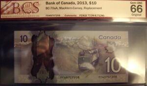 Canada BC-70aA 2013 $10 Replacement FEW8707208 - BCS GemUnc-66