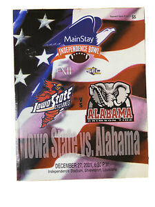 2001 Main Stay Independence Bowl Game Program Iowa State vs Alabama Crimson Tide