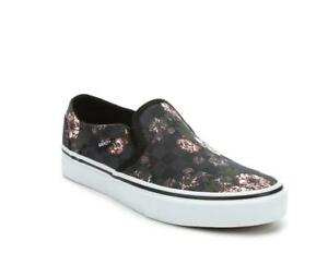 VANS Asher Shabby Floral Subtle Checkerboard Squares Slip-on Shoes Wm's NWT