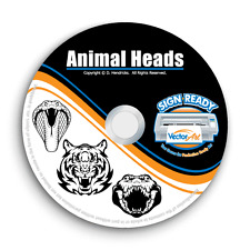 ANIMAL HEADS CLIPART IMAGES-VECTOR CLIP ART-VINYL CUTTER PLOTTER EPS GRAPHICS CD
